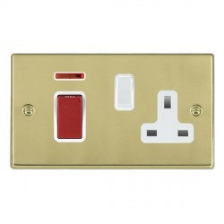 Hamilton Hartland Polished Brass 1 Gang Double Pole 45A Red Rocker + 13A Switched Socket with White Insert