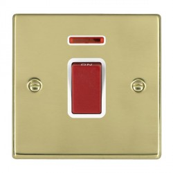 Hamilton Hartland Polished Brass 1 Gang 45A Double Pole Red Rocker + neon with White Insert