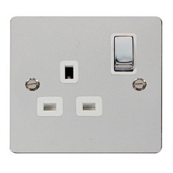 Click Define Polished Chrome Flat Plate Ingot 1 Gang 13A Double Pole Switched Socket with White Insert