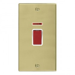 Hamilton Hartland Polished Brass 1 Gang Double Pole 45A Red Rocker + neon with White Insert