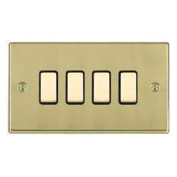 Hamilton Hartland Polished Brass 4 Gang Multi way Touch Master Trailing Edge with Black Insert