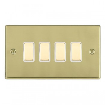 Hamilton Hartland Polished Brass 4 Gang Multi way Touch Master Trailing Edge with White Insert