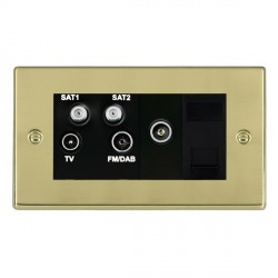 Hamilton Hartland Polished Brass TV+FM+SAT+SAT+TV+TCS (DAB Compatible) with Black Insert