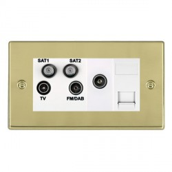 Hamilton Hartland Polished Brass TV+FM+SAT+SAT+TV+TCS (DAB Compatible) with White Insert
