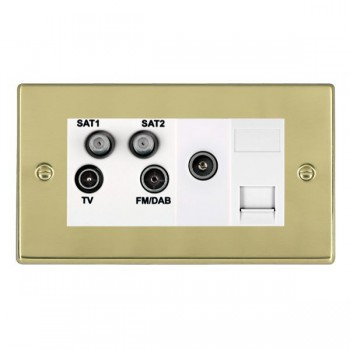 Hamilton Hartland Polished Brass TV+FM+SAT+SAT+TV+TCS (DAB Compatible) with White Insert
