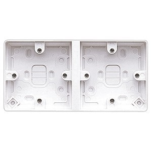 MK Electric Dual 38mm White Moulded Surface Pattress Box