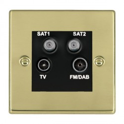 Hamilton Hartland Polished Brass TV+FM+SAT+SAT (DAB Compatible) with Black Insert
