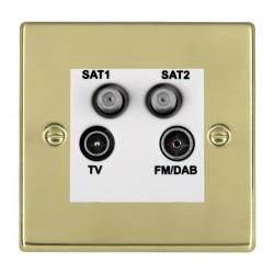 Hamilton Hartland Polished Brass TV+FM+SAT+SAT (DAB Compatible) with White Insert
