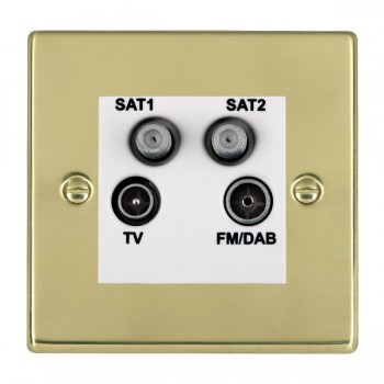Hamilton Hartland Polished Brass TV+FM+SAT+SAT (DAB Compatible) with White Insert
