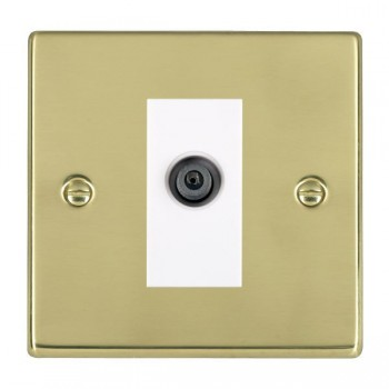 Hamilton Hartland Polished Brass 1 Gang Digital Satellite with White Insert