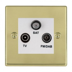 Hamilton Hartland Polished Brass TV+FM+SAT (DAB Compatible) with White Insert