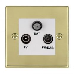 Hamilton Hartland Polished Brass TV+FM+SAT (DAB Compatible) with White Insert
