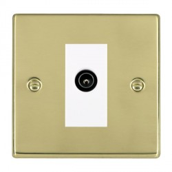 Hamilton Hartland Polished Brass 1 Gang TV (Male) with White Insert