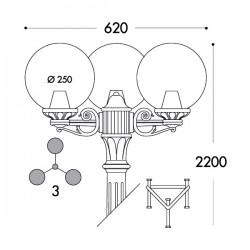 Fumagalli G25.156.S30.AY.E27 Globe 250 2200mm 3L Post - Black