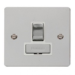 Click Define Polished Chrome Flat Plate Ingot 13A Switched Connection Unit with White Insert