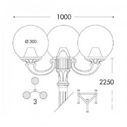Fumagalli G30.157.R30.AY.E27 Globe 300 Ricu-Ofir 2300mm 3L Post - Black