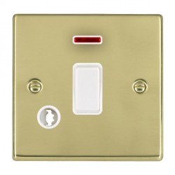 Hamilton Hartland Polished Brass 1 Gang Double Pole Rocker + Neon + Cable Outlet with White Insert