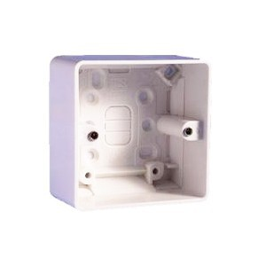 MK Electric 1 Gang 40mm White Moulded Surface Pattress Box