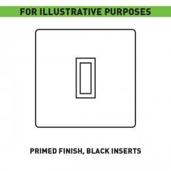 Focus SB Smoothie FS11.1B/3 1 gang 20 amp intermediate rocker switch in Primed finish with Black Inserts