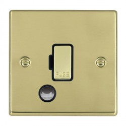 Hamilton Hartland Polished Brass 1 Gang 13A Fuse + Cable Outlet with Black Insert