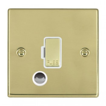 Hamilton Hartland Polished Brass 1 Gang 13A Fuse + Cable Outlet with White Insert