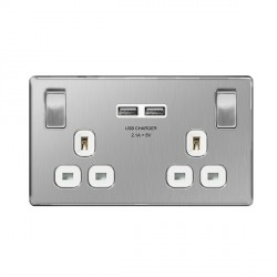 BG Nexus Flatplate Screwless Brushed Steel 13A 2 Gang Switched Socket with USB Socket and White Insert