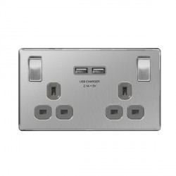 BG Nexus Flatplate Screwless Brushed Steel 13A 2 Gang Switched Socket with USB Socket and Grey Insert