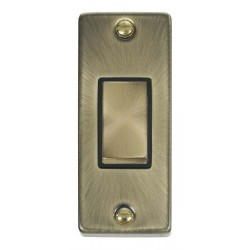 Click Deco Victorian Antique Brass Single Architrave Switch Kit with Black Insert, Antique Brass Rocker and Back Box