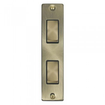 Click Deco Victorian Antique Brass Double Architrave Switch Kit with Black Insert, Antique Brass Rocker and Back Box