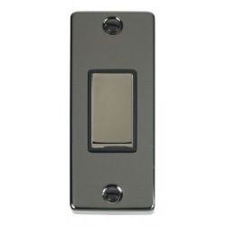 Click Deco Victorian Black Nickel Single Architrave Switch Kit with Black Insert, Black Nickel Rocker and...