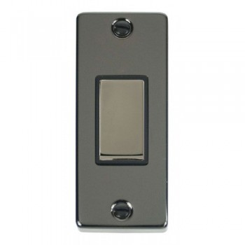 Click Deco Victorian Black Nickel Single Architrave Switch Kit with Black Insert, Black Nickel Rocker and Back Box