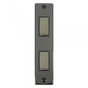 Click Deco Victorian Black Nickel Double Architrave Switch Kit with Black Insert, Black Nickel Rocker and Back Box