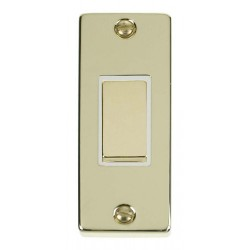 Click Deco Victorian Polished Brass Single Architrave Switch Kit with White Insert, Brass Rocker and Back Box