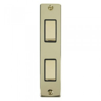 Click Deco Victorian Polished Brass Double Architrave Switch Kit with Black Insert, Brass Rocker and Back Box