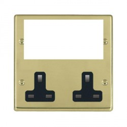 Hamilton Hartland Media Plates Polished Brass Media Plate containing 2 Gang 13A Unswitched Socket + EURO4 aperture with Black Insert
