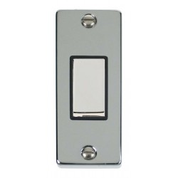 Click Deco Victorian Polished Chrome Single Architrave Switch Kit with Black Insert, Chrome Rocker and Back Box