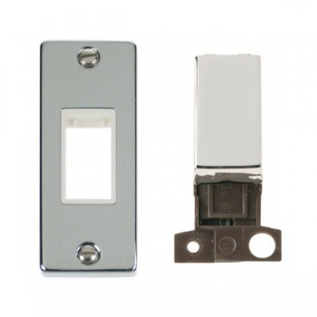 Click Deco Victorian Polished Chrome Single Architrave Switch Kit with White Insert, Chrome Rocker and Back Box