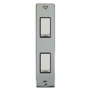 Click Deco Victorian Polished Chrome Double Architrave Switch Kit with Black Insert, Chrome Rocker and Back Box