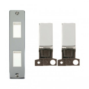 Click Deco Victorian Polished Chrome Double Architrave Switch Kit with White Insert, Chrome Rocker and Back Box
