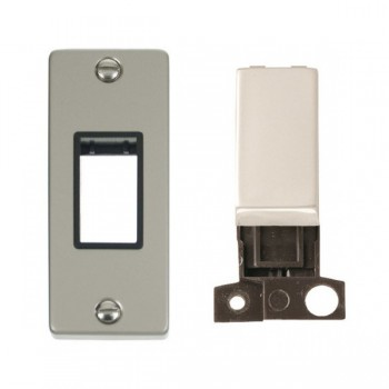 Click Deco Victorian Pearl Nickel Single Architrave Switch Kit with Black Insert, Pearl Nickel Rocker and Back Box