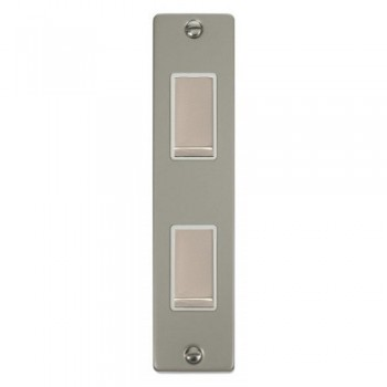 Click Deco Victorian Pearl Nickel Double Architrave Switch Kit with White Insert, Pearl Nickel Rocker and Back Box