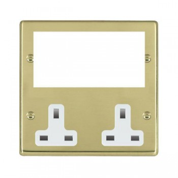 Hamilton Hartland Media Plates Polished Brass Media Plate containing 2 Gang 13A Unswitched Socket + EURO4 aperture with White Insert