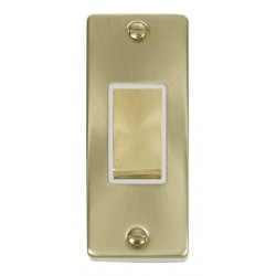 Click Deco Victorian Satin Brass Single Architrave Switch Kit with White Insert, Satin Brass Rocker and Back Box
