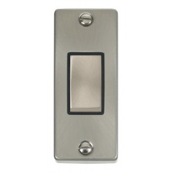 Click Deco Victorian Satin Chrome Single Architrave Switch Kit with Black Insert, Satin Chrome Rocker and Back Box