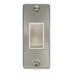Click Deco Victorian Satin Chrome Single Architrave Switch Kit with White Insert, Satin Chrome Rocker and Back Box