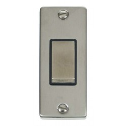 Click Deco Victorian Stainless Steel Single Architrave Switch Kit with Black Insert, Stainless Steel Rocker and Back Box