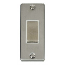 Click Deco Victorian Stainless Steel Single Architrave Switch Kit with White Insert, Stainless Steel Rocker and Back Box