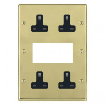 Hamilton Hartland Polished Brass Media Plate containing 2 Gang 13A Unswitched Socket, 2 Gang 13A Unswitched Socket, EURO4 aperture with Black Insert