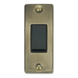 Click Deco Victorian Antique Brass Single Architrave Switch Kit with Black Insert, Black Rocker and Back Box
