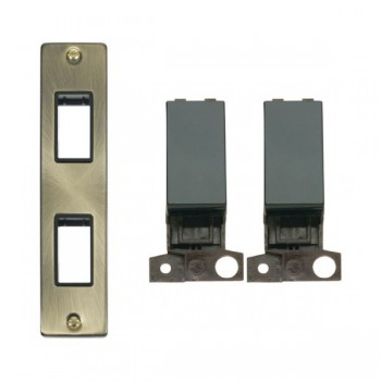 Click Deco Victorian Antique Brass Double Architrave Switch Kit with Black Insert, Black Rocker and Back Box